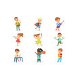 cute children dancing and playing musical vector image vector image