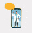 doctor in medical uniform on screen vector image vector image