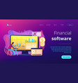 financial data management concept landing page vector image vector image