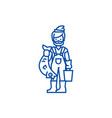 fisherman with fish line icon concept fisherman vector image vector image