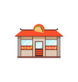 flat street food shop with junk food vector image