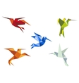 Flying color origami hummingbirds vector image