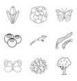 food for animal icons set outline style vector image vector image