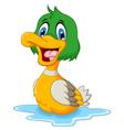 funny baby duck cartoon vector image vector image