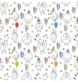 Happy birthday seamless pattern Cartoon funny vector image