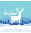 i love winter reindeer blue background imag vector image