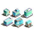 isometric modern buildings cartoon vector image vector image
