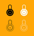 lock black and white set icon vector image vector image