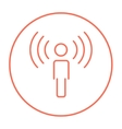Man with soundwaves line icon vector image vector image