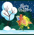 merry christmas greeting card elf hold presents vector image vector image