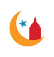 moon with a mosque silhouette vector image