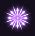 neon round flower with sparks on dark background vector image vector image
