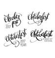 oktoberfest hand lettering set brush pen vector image