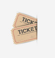 old ticket with grunge effect flat on white vector image vector image