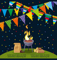 party or bbq poster design with colorful flags vector image vector image