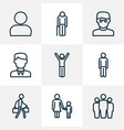 people outline icons set collection of man team vector image vector image