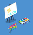 picture on easel by watercolor paints with brush vector image