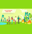 poster of civil extinguishing forest fire vector image vector image