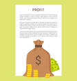 profit banner and isoalted full cloth money bag vector image vector image