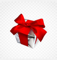 realistic gift box with red bow isolated on vector image vector image