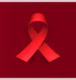 realistic red ribbon world aids day symbol 1 vector image