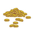 realistick pile of colden coins vector image vector image