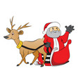 santa claus waving from reindeer drawn cart vector image vector image