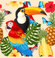 seamless birds and flowers vector image vector image