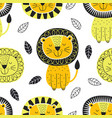 seamless pattern with lion in scandinavian vector image vector image