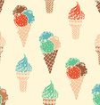 Seamless retro ice-cream pattern vector image