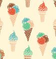 Seamless retro ice-cream pattern vector image