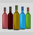 set of realistic wine bottle on a transparent vector image vector image