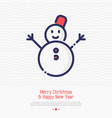 snowman thin line icon vector image