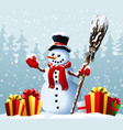 snowman with christmas presents against the vector image