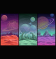 space backgrounds collection fantasy alien planet vector image vector image