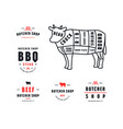 stock beef cuts diagram and label for butcher shop vector image vector image