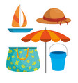 summer travel holiday and beach icons vector image