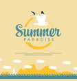 summer travel seascape with sailboat and seagull vector image vector image