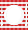 Tablecloth plate fork and knife vector image vector image