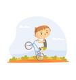 teen kid performing wheelie stunt on bmx bike vector image