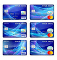 template credit cards blue color set vector image