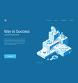 way to success business people teamwork modern vector image