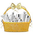 Wicker Basket with Cosmetics vector image vector image