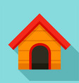 wood dog house icon flat style vector image