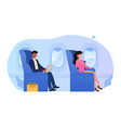 young business man sitting in comfortable airplane vector image vector image