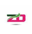 Alphabet Z and D letter logo vector image
