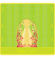 Easter greeting card with decorative egg vector image