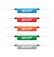 30 percent off paper tag labels vector image