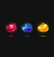 3d flying bubble elements in glowing neon colors vector image