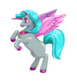 adorable fantasy unicorn with long blu hair vector image